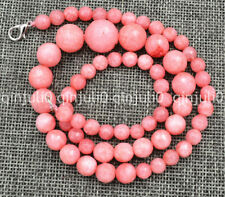 """100% Genuine natural 6-14mm pink Rhodochrosite Faceted Tower type necklace 18"""""""