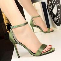 Women Strappy Sandals Stud Open Toe High Heel Stiletto Party Ladies Pumps Shoes