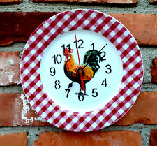 "BIA Cordon Bleu ROOSTER Pattern W/Red Check Trim 8"" Diameter Custom Plate Clock"
