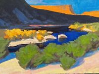 Rio Grande New Mexico Western Southwest River Art Oil Painting Landscape Texas