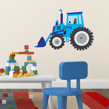 BLUE TRACTOR DIGGER PERSONALISED CHILDREN'S BEDROOM PLAYROOM WALL STICKER VINYL