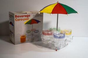 Vintage Cups on Stand with Umbrella 'Beverage Carousal' RETRO 1980s in Box NOS