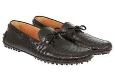 NEW CAR SHOE BY PRADA  BROWN CROCCO LEATHER DRIVER MOCCASINS SHOES 9.5/US 10.5