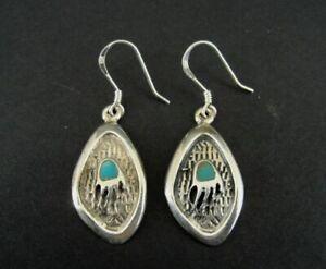 Earrings Silver Turquoise Stones Bear Paw Sterling 925 Pierced Dangle Earrings