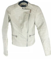 Therapy Ivory Quilted Faux Leather Moto Jacket New! Small