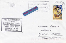GB / FRENCH FERRY P&OSL BURGANDY A SHIPS CACHED COVER