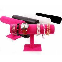 Durable Velvet Bangle Bracelet Jewelry Watch T-Bar Display Stand Holder Rack Top