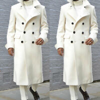 Men Ivory Overcoat Wool Outwear Long Trench Jacket Double-breasted Formal Suits