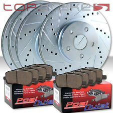 (F&R) TOPBRAKES Drill Slot Brake Rotors + POSI QUIET Ceramic Pads 4LUG TBP19220