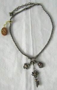 "Barbara Bixby Sterling Silver & 18K Gold Flower, Key & Lock Diamond Necklace 18"""