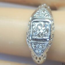 Antique Vintage Diamond Engagement 18K White Gold Ring Size 6.25 UK-M EGL USA