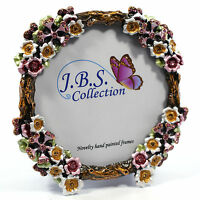 Bejeweled flower bouquet antique look round photo frame, enamel painted crystals
