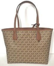 NWT Michael Kors Candy Large Reversible Tote in Signature PVC Beige / Luggage