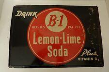 Original Old B-1 Lemon-Lime Soda Sign 'plus vitamin b1' embossed tin metal adv
