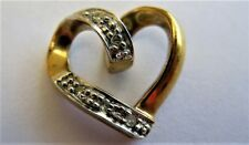 Pretty 9K Gold And Nat.Diamond Heart Pendant
