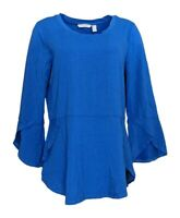 Isaac Mizrahi Live! Women's Top Sz M Knit Peplum / Tulip Hem Blue A308014