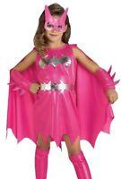 Pink Batgirl Costume Girls Superhero Bat Girl Child Kids - S 4-6, M 8-10 - Fast