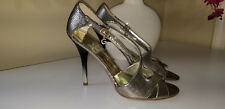 Guess by Marciano Silver Embossed Leather Dorsey Sandals Ombre Stilettos Sz.7,5M