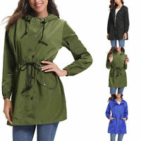 Women's Fashion Long Sleeve Rain Wear Hooded Cardigan Jacket Tops Casual Coat