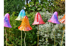 6 Very Large Metal Magical Mushroom Fairy Garden Plant Stake Garden Decoration