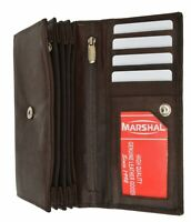 Genuine Leather Wallets For Women's Ladies Wallet Clutch Accordion Brown Marshal