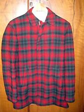 VINTAGE 30's-40's MENS PENDLETON RED GREY PLAID WOOL DRIVING JACKET COAT M-L