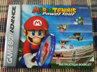 Mario Tennis Power Tour - Authentic - Nintendo Game Boy Advance - Manual Only!