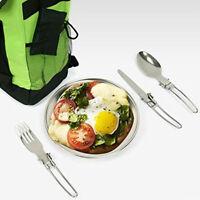 3pce Camping Dinnerware Set Stainless Steel Cutlery X4Z8 Fork U4B5 W4F7