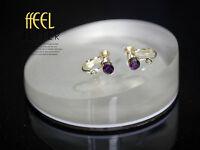 Clips De Tornillo Para Pendientes Dorado Cristal Púrpura Oscuro Original
