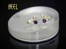 Clips a Vis Pour DIY Boucles d`Oreilles Doré Cristal Violet Foncé Original