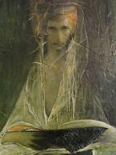 HIS (evt. Andreas *1927) Öl/Spachtel-Gemälde 60er: ABSTRAKT MÄNNL. KOPF MIT GRÜN