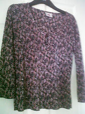 NEW LADIES BLACK AND PINK AND WHITE  BLOUSE/SHIRT/TOP SIZE 12