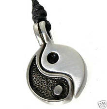 54A Silver PEWTER Chinese YIN YANG 2Pc PENDANT Necklace