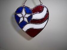 """STAINED GLASS SUNCATCHER, 4""""x4""""Platinum Plated,Sun Catcher,Red White&Blue Heart"""