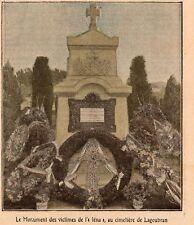 TOULON MONUMENT VICTIMES DE L IENA CIMETIERE LAGOUBRAN IMAGE 1908 OLD PRINT