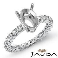 Diamond Engagement Eternity Style Ring Oval Semi Mount 18k White Gold 0.80 Ct.