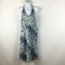 Ann Taylor Womens 8 M Halter Sun Dress Silk Cotton Blend Floral Blue White Print