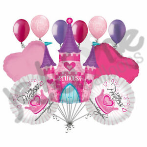 11pc Welcome Baby Girl Princess Enchanted Castle Balloon Bouquet Decoration Pink