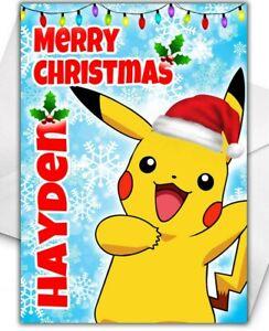 PIKACHU POKEMON Personalised Christmas Card - Pokemon Christmas Card