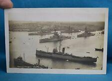 Real Photo RP Postcard Royal Navy Battleships Atlantic Fleet Grand Harbour Malta