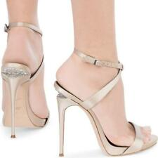 Giuseppe Zanotti Dionne Sandal Champagne Satin Crystal Sculpted Heel 39 Auth$895