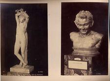 SET OF 3 ALBUMEN PHOTOS OF SCULPTURES W/ NAMES - LOUVRE MUSEUM - PARIS, FRANCE