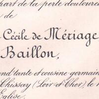Charlotte Cecile De Meriage De Baillon Chissay 1887