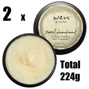 2 x WEN by CHAZ DEAN SWEET ALMOND MINT RE-MOIST INTENSIVE HAIR TREATMENT 112g