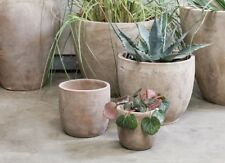 Large Clay Plant Pot Cover, Pink Rustic Terracotta Garden Planter Nkuku Affiti