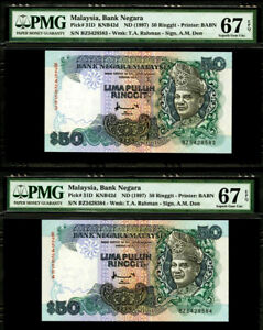 Malaysia 2 Consecutive 50 Ringgit 1997 Pick-31D GEM UNC PMG 67 EPQ FINEST KNOWN