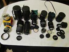Lot 9 35mm Camera Lenses Extenders Cases Tamron Vivitar Yashinon Tokina Craig