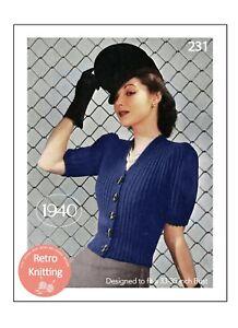1940's Stylish Wartime Puff Sleeve Cardigan Knitting Pattern Bust 33-35