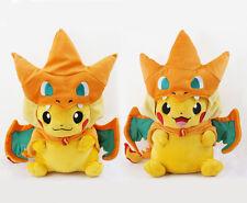 Pokemon Center Mega Pikachu with Charizard Hat Plush Toy Stuffed Doll Set of 2
