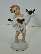 VTG Rosenthal Selb Boy Holding Goat Figurine M.H. Fritz German Porcelain